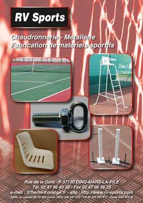 RV Tennis Catalogue des matériels et équipements pour terrain de tennis - rv-sports.com - Fabricant de poteaux de tennis et matériels sportifs depuis plus de 30 ans.